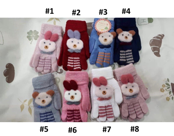 Toddler Girls Warm Bunny Bear Design Winter Wool Gloves 4-6 years - Just Be Special