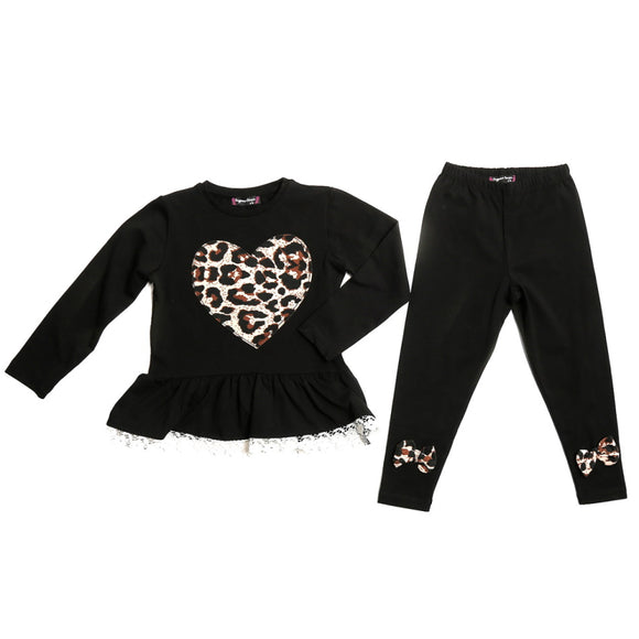 Toddler Girls Heart Design 2-Piece Cotton Set 2 / 4 / 5 years - Just Be Special