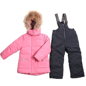 Toddler Girls Winter Pink Jacket Overall Genuine Fur Set 12m - 4 years