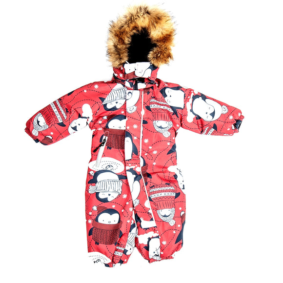 Toddler Girls Winter Waterproof Penguin Design Overall 12m - 4 years