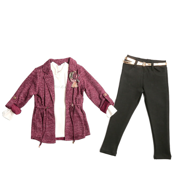Toddler Girls 3-Piece Leggings Knit Shirt Cardigan Set 2-3 years - Just Be Special