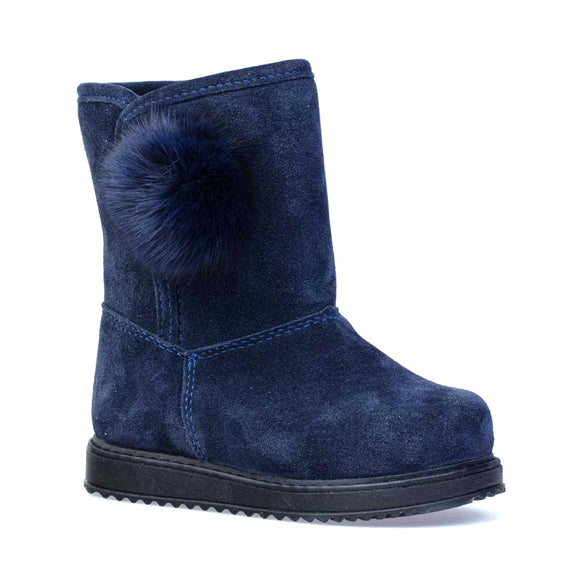 Toddler Girls Genuine Leather Sheep Wool Dark Blue Boots Toddler 9 / 10 / 10.5 / 12.5 - Just Be Special