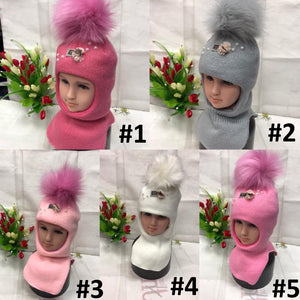 Toddler Girls Winter Warm Balaclava Pearl Design Hat 1 - 3 years - Just Be Special