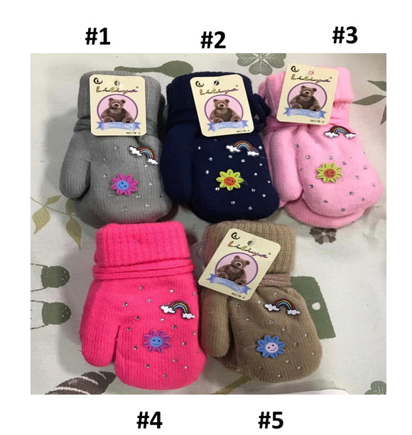 Toddler Girls Warm Sun Design Winter Wool Mittens 1-2 years - Just Be Special