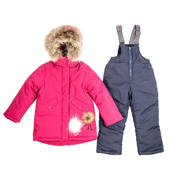 Toddler Girls Winter Pink Jacket Overall Genuine Fur Set 7 years - Just Be Special
