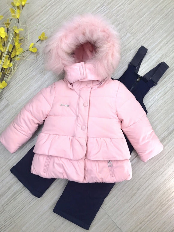 Toddler Girls Winter 3-Piece Jacket Snow Bib Sheep Wool Vest Pink Set - Just Be Special