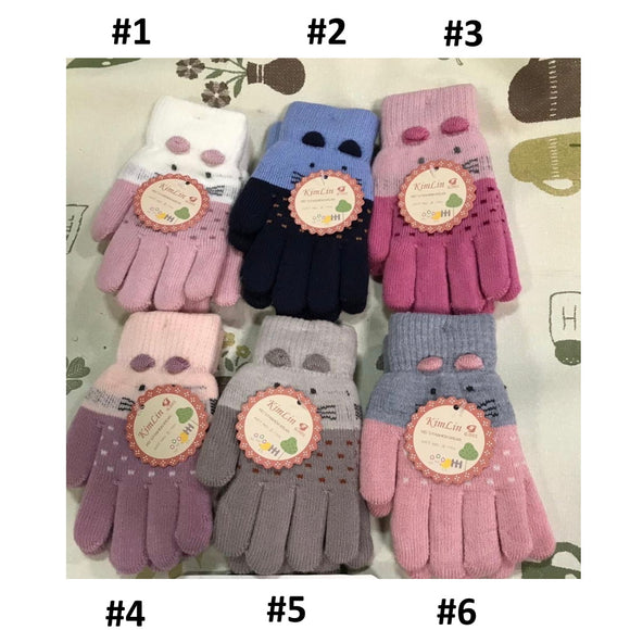 Toddler Girls Warm Cat Design Winter Wool Gloves 4-6 years - Just Be Special