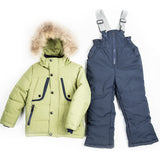 Toddler Boys 3-Piece Winter Jacket Sheep Wool Vest Overall Green Set 2 / 4 / 6 years - Just Be Special