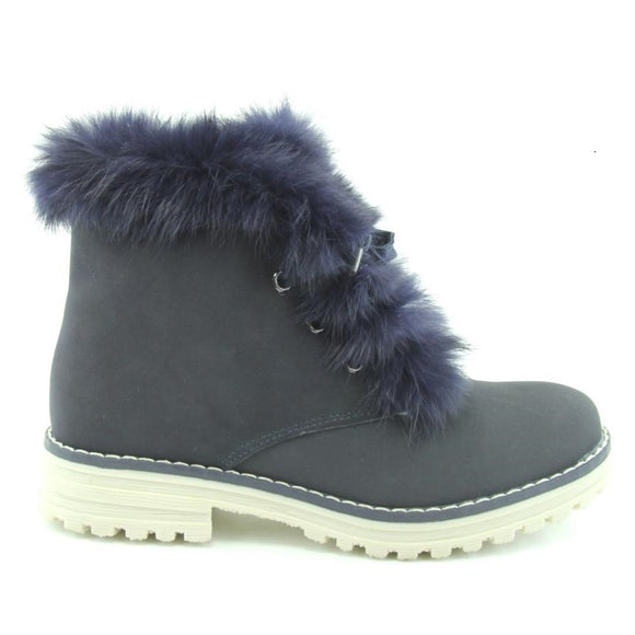Youth Girls Winter Genuine Sheep Wool Black Boots Youth 4 - 5.5 - Just Be Special