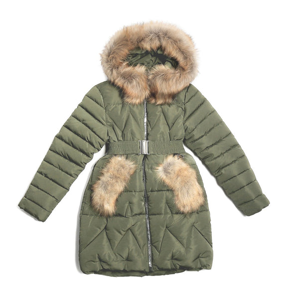 Youth Girls Warm Winter Faux Fur Decoration Dark Green Jacket 12 - 13 years - Just Be Special