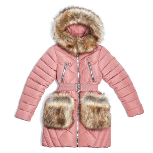 Youth Girls Warm Winter Dark Pink Jacket 10 - 13 years - Just Be Special