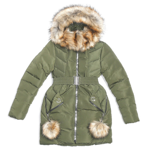 Youth Girls Warm Winter Dark Green Jacket 10 - 15 years - Just Be Special