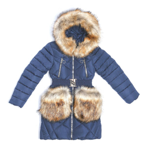 Youth Girls Warm Winter Dark Blue Jacket 12 - 13 years - Just Be Special