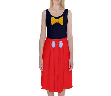 Mickey Mouse Inspired Tank Midi Dress