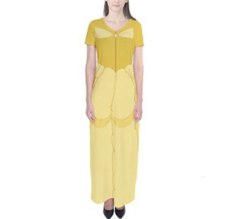 Belle Beauty and the Beast Inspired Short Sleeve Maxi Dress