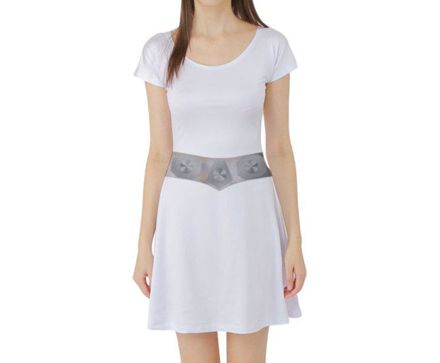 Princess Leia Inspired Star Wars Short Sleeve Skater Dress