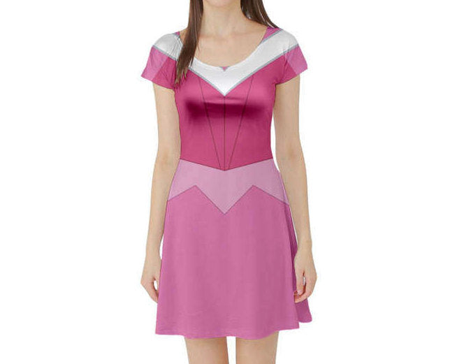 Aurora Sleeping Beauty Inspired Short Sleeve Skater Dress