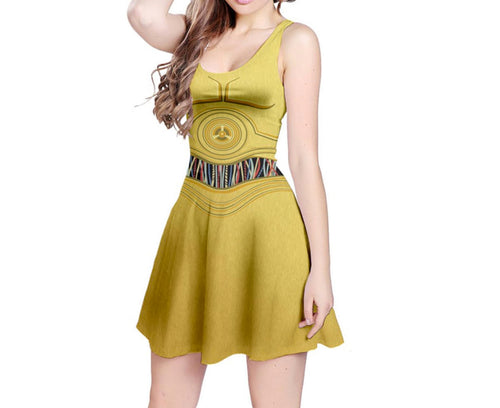 C3PO Star Wars Inspired Sleeveless Dress