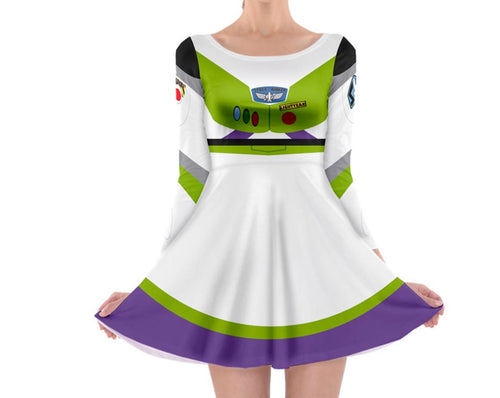 Buzz Lightyear Toy Story Inspired Long Sleeve Skater Dress