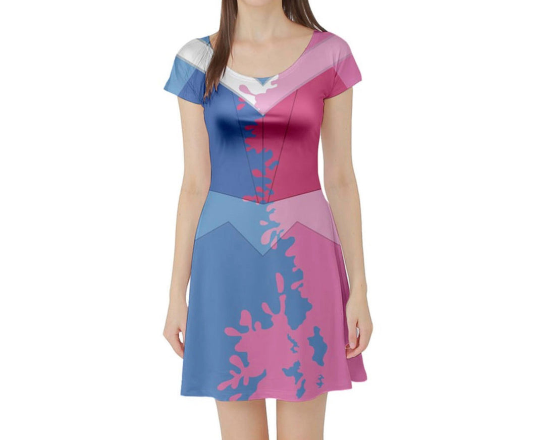 Aurora Sleeping Beauty Make It Pink Make It Blue Inspired Short Sleeve Skater Dress
