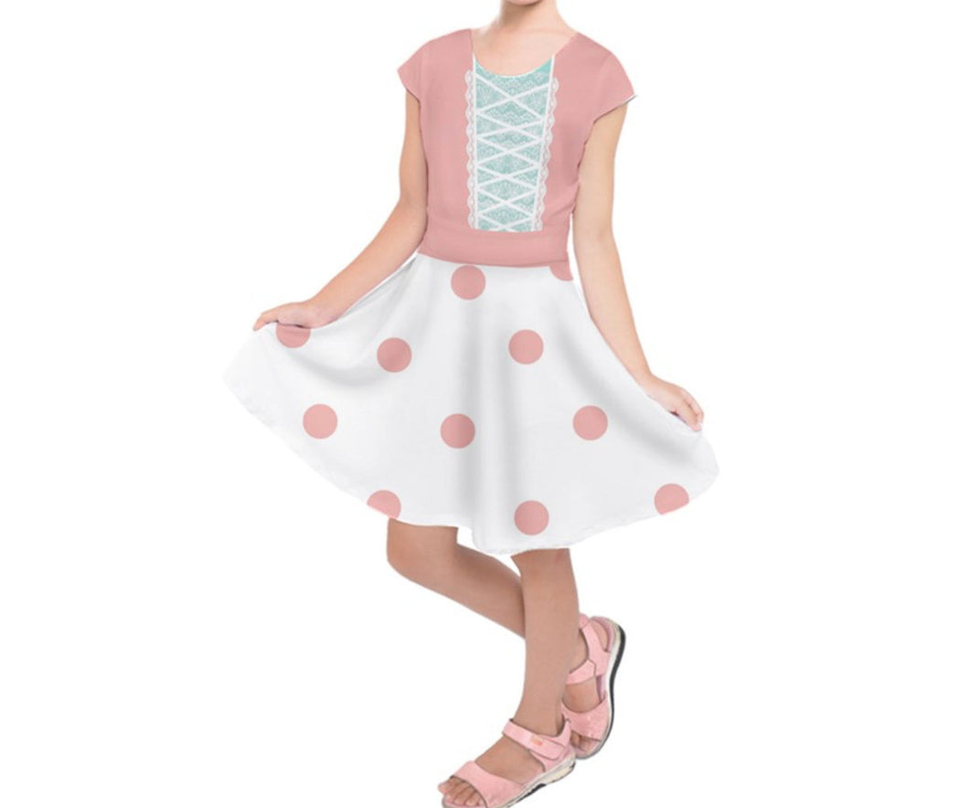 Kid's Bo Peep Toy Story Inspired Short Sleeve Dress