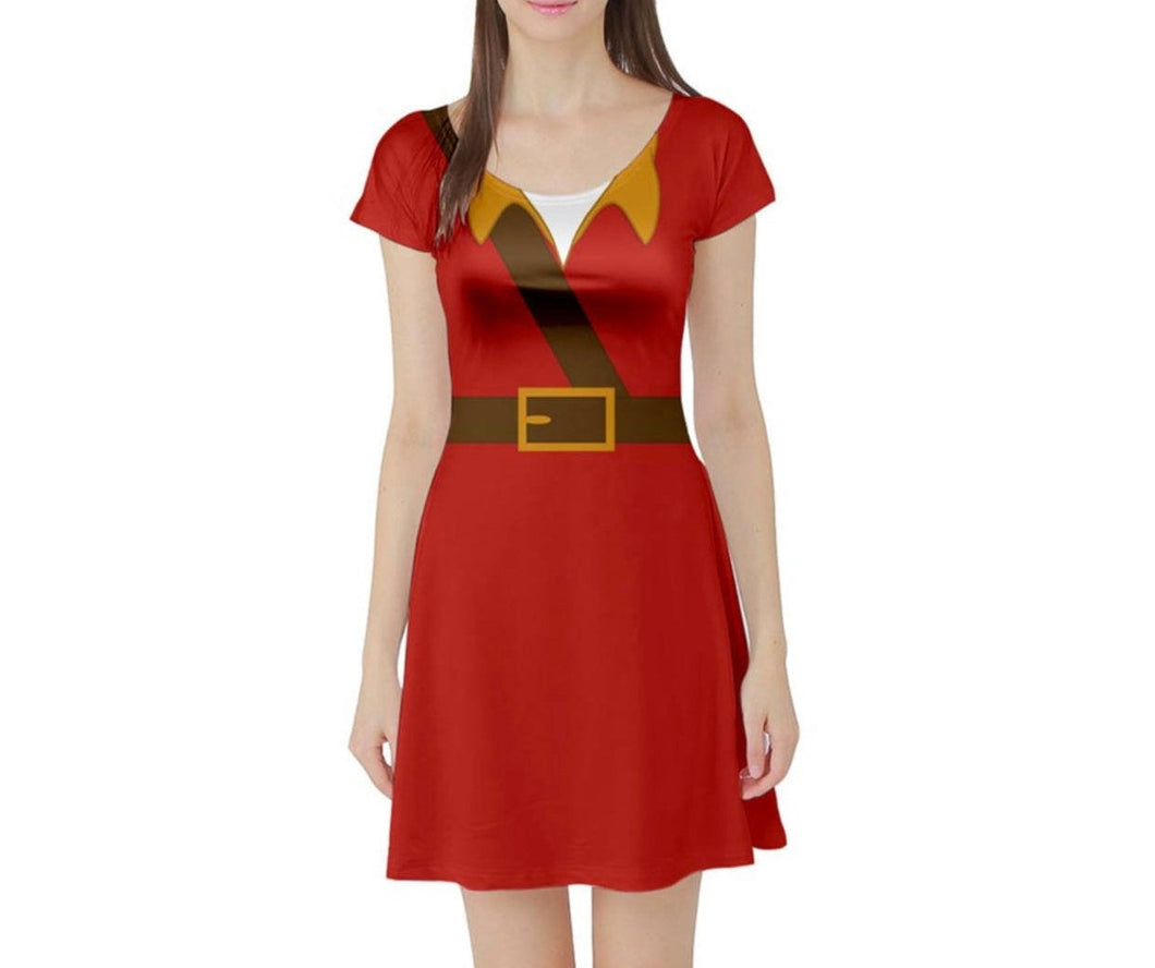 Gaston Beauty and the Beast Inspired Short Sleeve Skater Dress