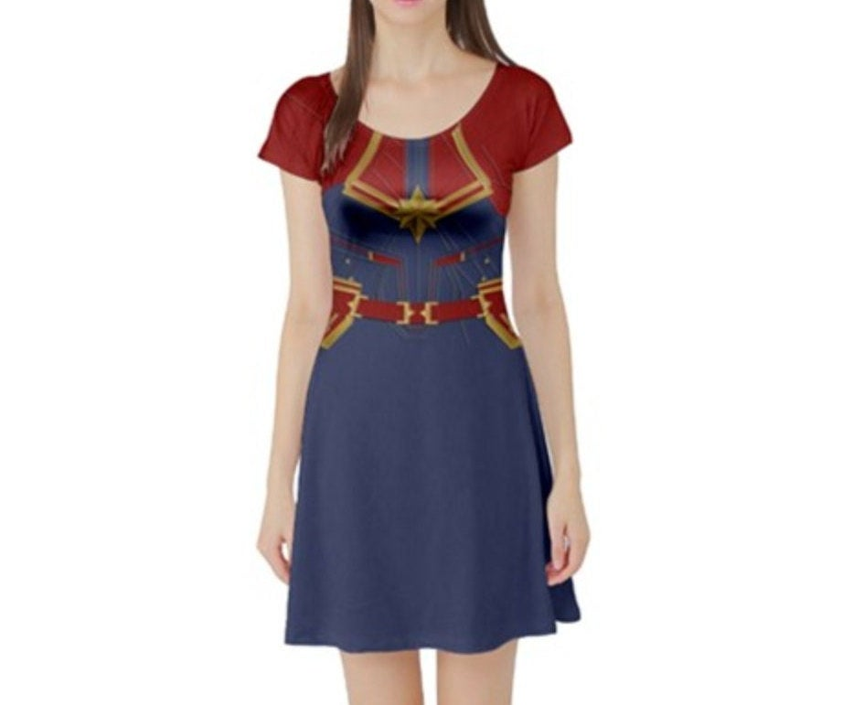 Captain Marvel Inspired Short Sleeve Skater Dress