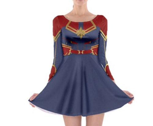Captain Marvel Inspired Long Sleeve Skater Dress