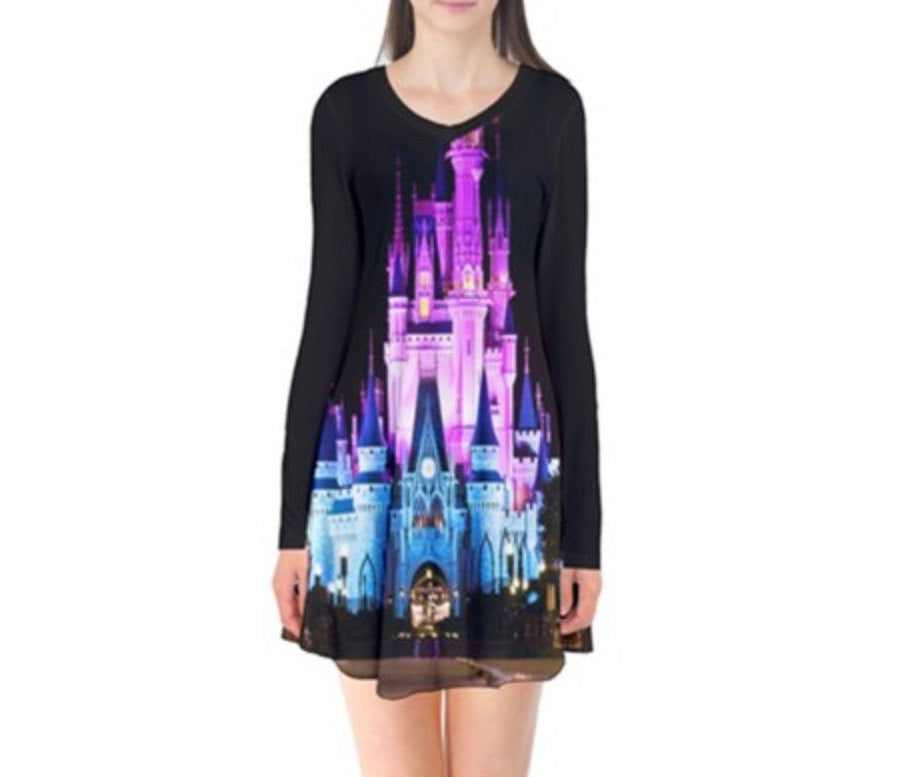 Nighttime Cinderella Castle Inspired Long Sleeve Flare Dress