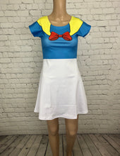 Donald Duck Inspired Short Sleeve Skater Dress