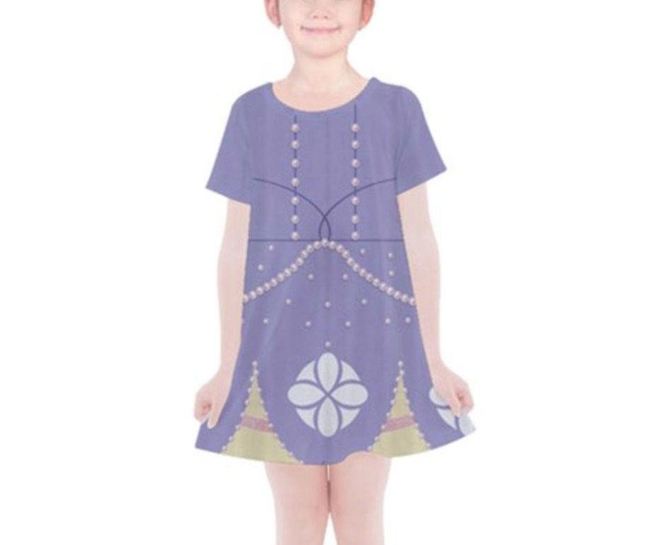 Kid's Sofia the First Inspired Short Sleeve Dress