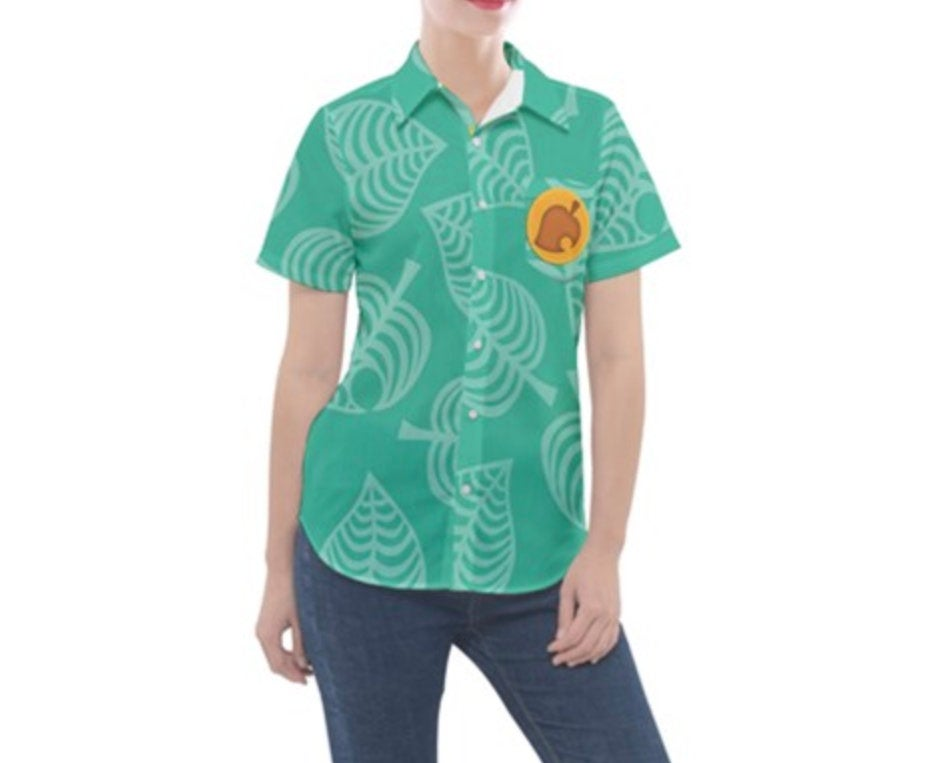 Women's Tommy and Timmy Nook Animal Crossing New Horizons Inspired Button Down Pocket Shirt