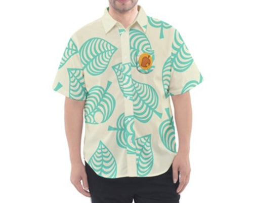 Men's Tom Nook Animal Crossing New Horizons Short Sleeve Button Down Shirt