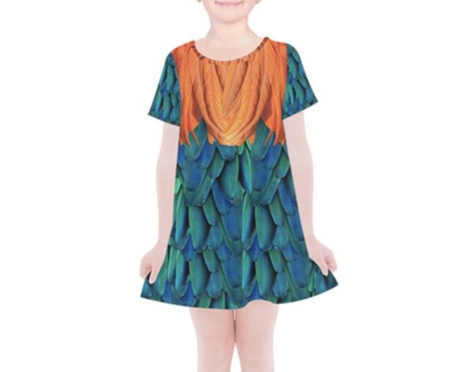 Kid's Hei Hei Moana Inspired Short Sleeve Dress