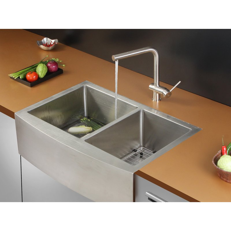 Stainless Steel Handmade Apron Kitchen Sink OACS 3321A2 50/50 Double ...