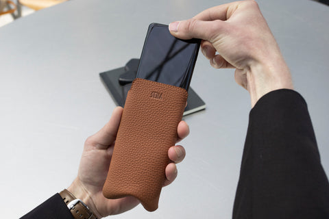 Leather iPhone sleeve and iPhone