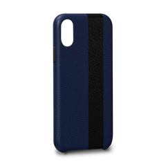 Leather Case for iPhone X - Corsa II Snap On Leather Case in Blue and Black Color