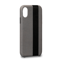 Leather Case for iPhone X - Corsa II Snap On Leather Case in Grey and Black Color