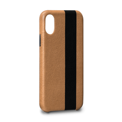 Leather Case for iPhone X - Corsa II Snap On Leather Case in Tan and Black Color