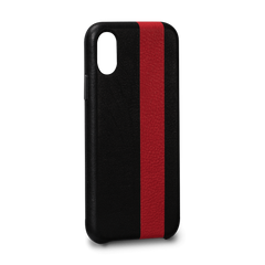 Leather Case for iPhone X - Corsa II Snap On Leather Case in Black and Red Color