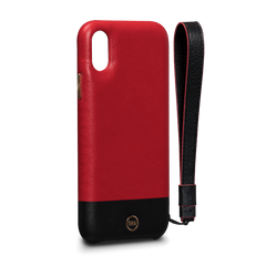 Leather Case for iPhone X - Arri Wristlet Snap On Leather Case in Red and Black Color
