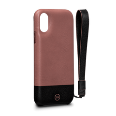Leather Case for iPhone X - Arri Wristlet Snap On Leather Case in Dusty Pink and Black Color