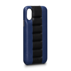 Leather Case for iPhone X - Racer Snap On Leather Case in Blue and Black Color