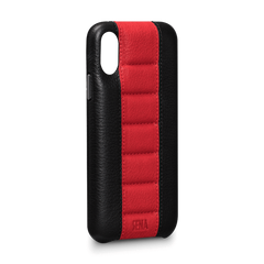 Leather Case for iPhone X - Racer Snap On Leather Case in Black and Red Color