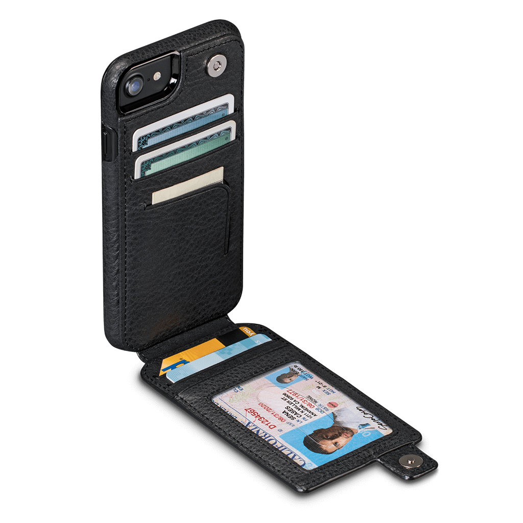 WalletSkin Leather Wallet Case iPhone 8 - 7 Black SFD308GBUS-50R