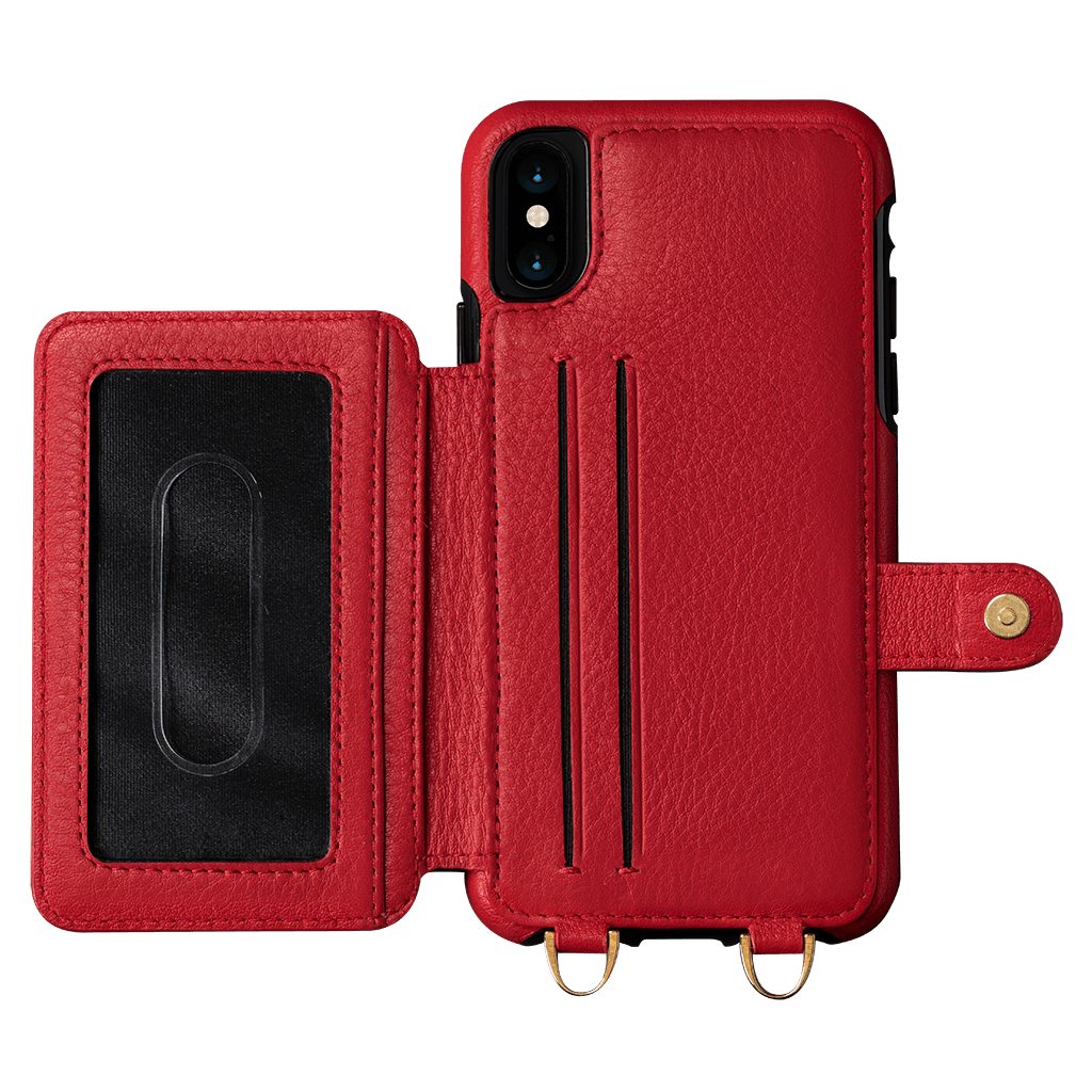 new product ed139 efd2b Isa Crossbody Snap On Leather Wallet Case for iPhone X and XS