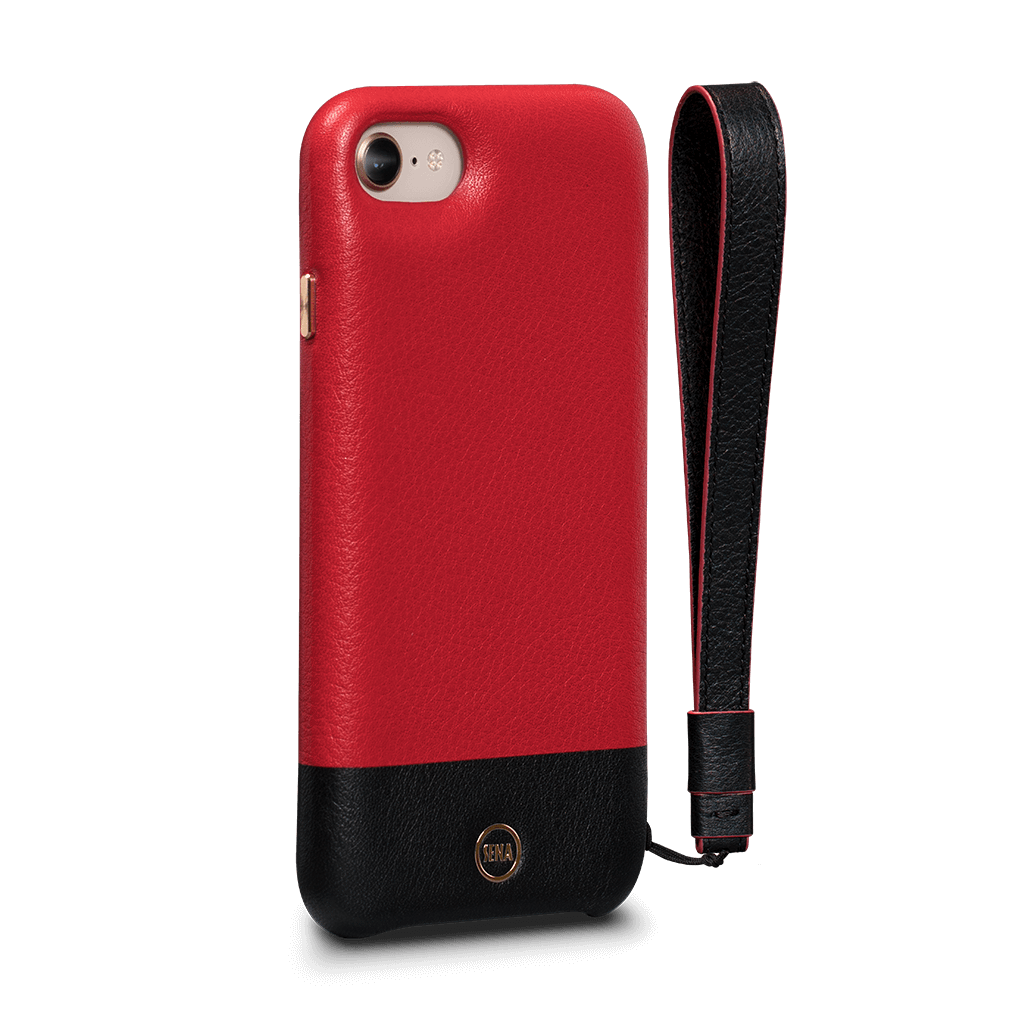 Arri Wristlet Leather Snap On Case iPhone 8 - 7 Black - Red SFD35003GBUS-50
