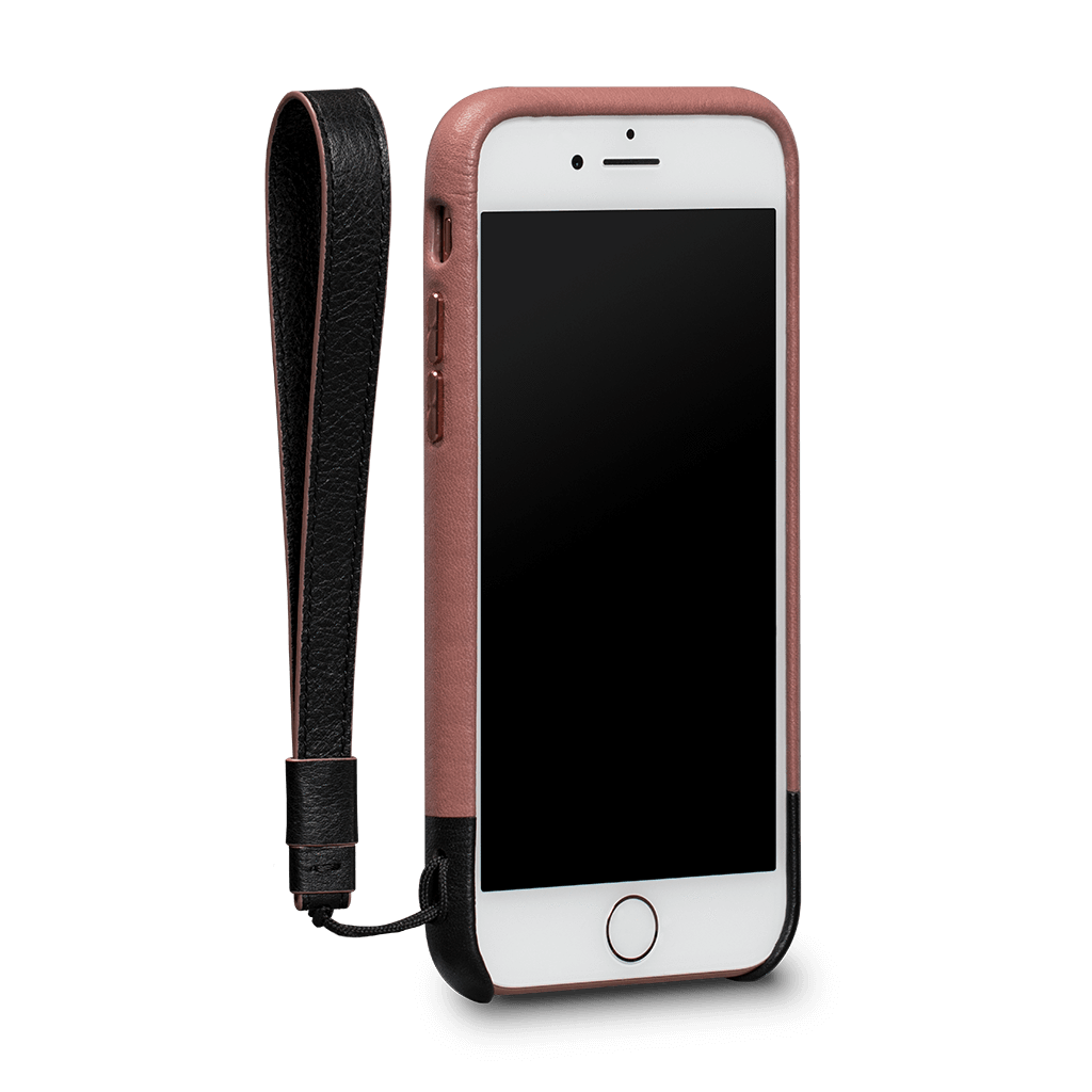 Arri Wristlet Leather Snap On Case iPhone 8 - 7 Dusty Pink - Black SFD350GBUS-50