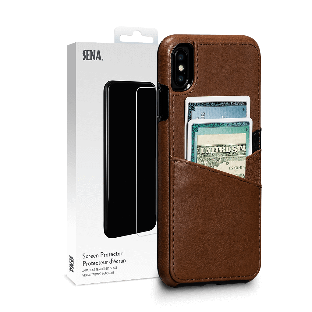 Deen Lugano Leather Snap On Wallet for iPhone XS Max Screen Protector Bundle