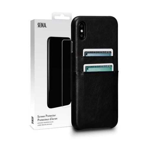 Deen Leather Snap On Wallet Case for iPhone XS Max Screen Protector Bundle